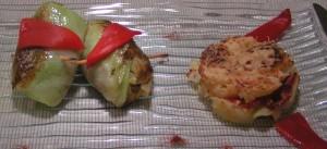 Choux farcis et pommes de terre aux poivrons