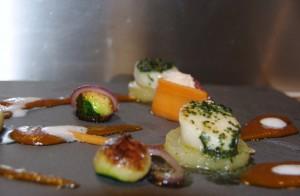 Saint-Jacques et saumon au jus du verger
