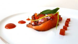 Saumon Gravlax Black G et sa tomate façon Bloody Mary