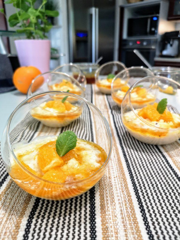 Riz au lait coco et caramel à l'orange