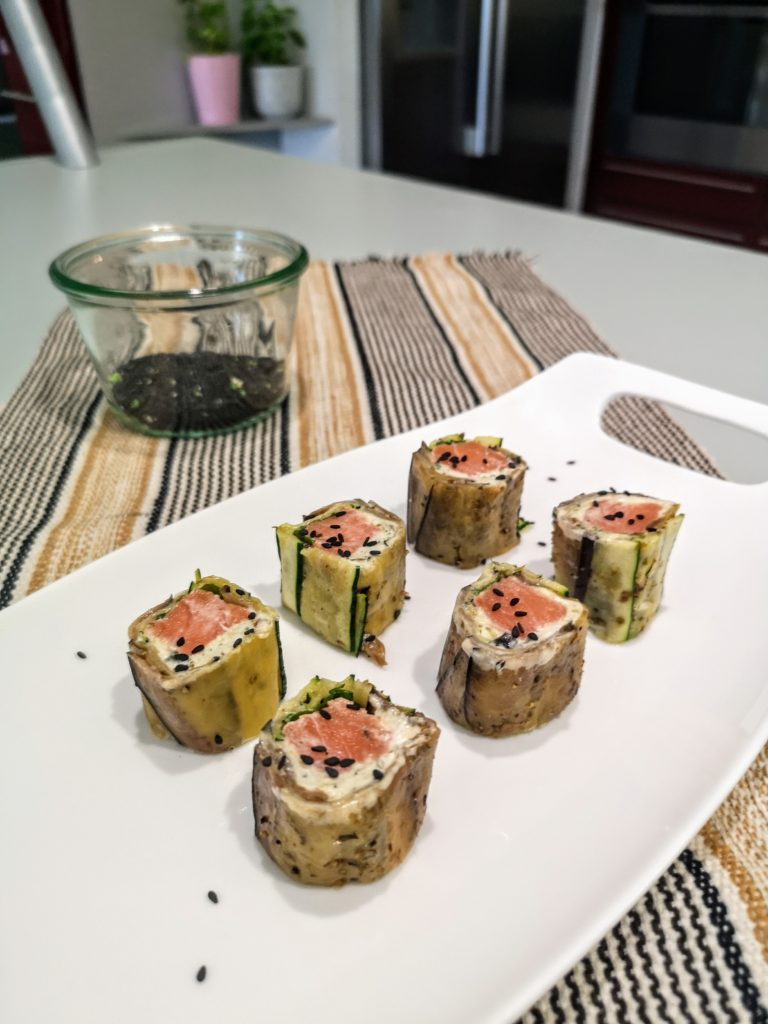Makis saumon, courgette et aubergine